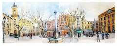 Aix-en-Provence - Provence - France - pl. de l'Hôtel de Ville (guymoll) Tags: googleearthstreetview croquis sketch aquarelle watercolour watercolor panoramique panoramic aix aixenprovence provence hôteldeville