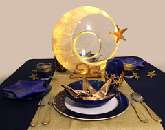 Goodnight Sweetheart Table Setting (CreateMyWorldDesigns) Tags: night goodnight moon stars celestial polymer clay lighted light centerpiece necklace tablesetting handmade origamistars napkins