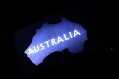 IMAG0458 [ps] - Van Diminished Land (Anyhoo) Tags: anyhoo photobyanyhoo london england uk australia australruby australianwine ad advert advertising advertisement bw blackandwhite projection britishlibrary propagandapowerandpersuasion graphic design bold text writing lettering map outline