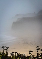 In the Fog the Cliffs of  Pescadero (CDay DaytimeStudios w/1,000,000 views) Tags: beach ca california californiasateparks cloud clouds cloudy cloudyday coastline pacificcoast pacificcoasthighway pescaderostatebeach road sanmateocoast waves