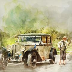 Changes my style and the car. (BirgittaSjostedt) Tags: car old antique paint watercolor texture rollsroyce birgittasjostedt