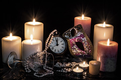 Witching Hour (Explored) (lclower19) Tags: mask candles candlelight clock pearls wineglass stilllife atsh week43 52in2017 odc explored odt