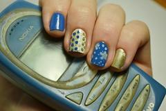 """Desafio Segura a coisa #4: """"Antiga"""": Excelso - Ludurana. (Raíssa S. (:) Tags: esmalte unhas nails nailpolish naillacquer nailart nailpainting blue azul ludurana gold dourado jequiti colorama white branco nailstamping nokia 2280"""