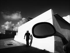 F_47A0736-1-BW-Canon 16-35mm-May Lee 廖藹淳 (May-margy) Tags: 心情的故事 maymargy bw 黑白 人像 背影 剪影 摩托車 後照鏡 房屋 雲彩 光影 幾何線條 silhouette motor cycle rear mirror house wall clouds 街拍 streetviewphotography 天馬行空鏡頭的異想世界 mylensandmyimagination 線條造型與光影 linesformandlightandshadow 心象意象與影像 naturalcoincidencethrumylens taiwan repofchina humaningeometry 台灣 澎湖縣 中華民國 f47a07361bw portrait viewfromback penghucounty canon5diii canon1635mm maylee廖藹淳 心象攝影 心象