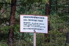 Bullet-holed 'No trespassing' sign R1004726 Durango & Silverton RR (Recliner) Tags: baldwin dsng drg