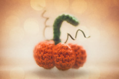 Little crochet pumpkin (RoCafe Off for a while) Tags: halloween macro pumpink croche autumn ornament handmade textured nikkormicro105f28 nikond600 still life