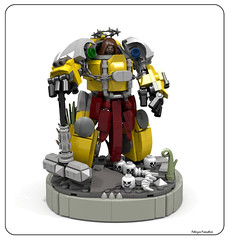 Imperial Fists Captain (Faber Mandragore) Tags: wip lego moc sci fi mecha powersuit warhammer 40k space marine terminator imperial fists captain victory pose