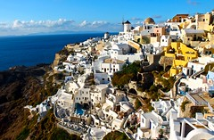 Overlooking Oia (JeffGuth) Tags: greece oia santorini cyclades aegeansea sea water landscape aegean greek cliffside cliff