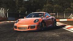 Orange Fruit (Porsche 911 GT3 RS) (polyneutron) Tags: auto photography car porsche 911 gt3 rs orange granturismo sport projectcars pcars pc automotive photomode nordschleife foliage depthoffield dof