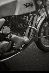 Norton commando (irimoyatetsu) Tags: norton commando twin engine cafe racer production 6006 kodak monochrome 6x9 6x6 four stroke motor 4storoke twins england big vintage old tilt shifting alminum tank sigle seat rolleiflex tmax carburator amal drum brake ron hasram mike surtees jeof jeff duke triumph bsa bonnebille thunderbird tr