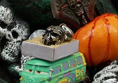 Halloween Delivery (Chandana Witharanage) Tags: srilanka southasia macromondays halloween macrophotography macro stackwith6images toyvan matchboxfilledwithbrownsugar smallmandarine redfoodcolouring skullpendent halloweenmaskwithskullsallover