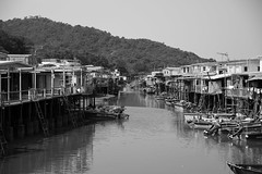Tai O River (superzookeeper) Tags: 5dmk4 5dmkiv hk hongkong canoneos5dmarkiv ef2470mmf28liiusm taio stilthouses boat water eos oldhk oldhongkong village sea digital street river bnw blackandwhite monochrome sky skyline