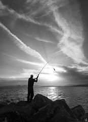 The fisherman (vangelistzertzinis.weebly.com) Tags: fishing fisherman greece bw clouds seascape