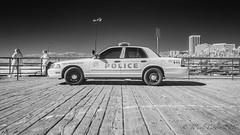 Santa Monica PD (JPaulTierney) Tags: 2017 losangeles santamonica pd police car pier usa october bw blackandwhite infrared boardwalk