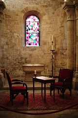 Make yourself at home (Douanot) Tags: industar50 chapel capilla asientos vidriera stainedglass montmartre seats vela candle