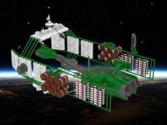 SHIPtember 2017:  Naja class Missile Corvette (ABS Shipyards) Tags: lego ship shiptember space scifi missile corvette warship micro dock beer