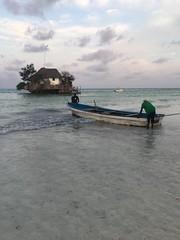 The Rock Zanzibar (baptistedavid1) Tags: seaview pingwe hightide maréehaute boat sea mer ocean bateau iphone zanzibar stone rocher restaurant therock