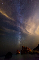 The Jordan River (George Plakides) Tags: milkyway jordanriver panorama stars sea petratouromiou cyprus astrophotography