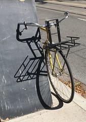 Bicycle shadow (Flash of Perception*) Tags: bicycle shadow spiral toronto blackboard bell basket panier spokes tire wheel