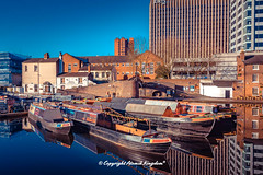 Gas Street Basin (atomikkingdom) Tags: tunnel water walk centre center boats street town light cars birmingham blue narrowboat accommodation moored uk cloud canal ideas sky happy bright apartment pavement waterways