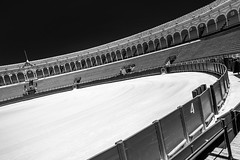 Plaza de Toros (Guido Colombini) Tags: sevilla plazadetoros spain curves shapes andalusia fight bull blackandwhite siviglia arena spagna corrida