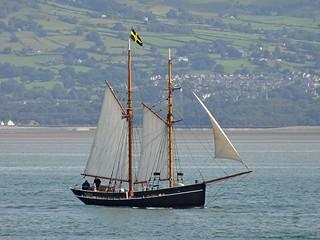 Sailing boat and St Davids Flag