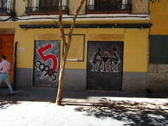 5 Copas (RubyGoes) Tags: yellow red black shutter bar couple illustration tree man pavement balconies