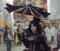 P67_101717_01 (Mark Dalzell) Tags: pentax p67 6x7 120 220 slr camera kodak portra 400vc 400 vc film 2017 new york comiccon nycomiccon javits convention center steampunk goth woman corset umbrella parasol