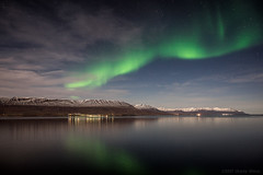 Back then our universe was an empty sea (OR_U) Tags: 2017 oru iceland akureyri night nightphotography reflection auroraborealis northernlights green stars sea fjord longexposure snow mountains landscape lights clouds bjork