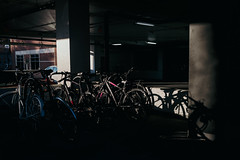 Opportunities In Wait (davelawrence8) Tags: 2016 annarbor autumn bike campus light michigan parkinggarage shadow universityofmichigan usa