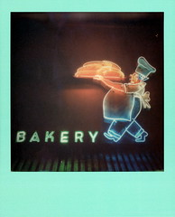 Bakery Neon 2 (tobysx70) Tags: the impossible project tip instant lab polaroid color film for 600 type cameras colorframesedition frames edition teal green impossaroid canon s90 bakery neon canters deli fairfax avenue ave los angeles la california ca sign light illuminated lit night nocturnal baker chef cook big belly bread awning toby hancock photography