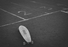 Lane one. (Pablin79) Tags: street light road blackandwhite white asphalt monochrome black skate lines lane numbers table argentina rider longboard misiones posadas