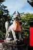 The Fox-O-Inari-San (Yorkey&Rin) Tags: 9月 autumn bluesky em5markii foxstatue gifu inari japan lumixg20f17 rin september shrine town ub250040 お稲荷さん 荷席稲荷大明神 岐阜県 秋