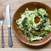 ULTRA GREEN BOWL with shaved brussels sprouts, broccoli, fresh peas, scallions, zucchini, avocado, sesame & pumpkin seeds, sesame oil