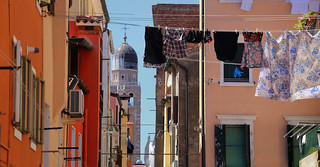 Typical Italian clothes line in the alley of Chioggia