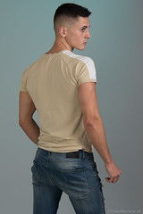 Dominic (PhotoMechanic.uk) Tags: male man guy dude youth model pose photoshoot boy studio jeans tshirt fashion trendy casual green blue back stand standing