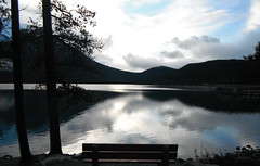 Tranquility .... (Mr. Happy Face - Peace :)) Tags: autumn fall banff alberta canada bench lonelybench rockies art2017 naturelover scenery parkscanada rr calmness peacefulness mood