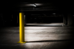 Yellow Poll (akran21) Tags: shadow lot midnight street parking poll line night darkness angle yellow structure light