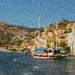 Schooner in harbour, Symi, Greece.