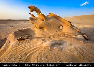 United Arab Emirates - UAE -  Al Wathba Fossil Dunes Sandstone Formations in Desert during Sunset