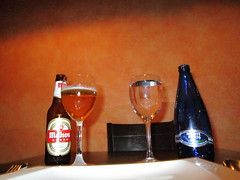 Mahou and Monte Pinos (RubyGoes) Tags: glass beer mineralwater madrid spain red blue amber wall table