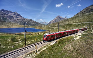 Riding the red train in the Swiss Alps