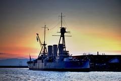 Old Battleship at dawn Pt1 (Sfynx) Tags: paraliathessalonikis thessaloniki port portofthessaloniki dawn nightshot battleship battleshipaverof hdr