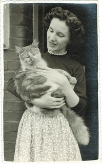 English woman with a beautiful cat