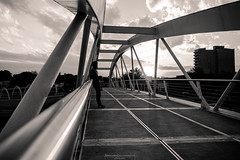 Man in black (Mariano Colombotto) Tags: sanmigueldetucuman tucuman argentina blackandwhite blancoynegro sunset byn bnw nikon urban bridge architecture arquitectura silhouttes infinitexposure autofocus