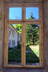 Grand Hotel, Kupari, Croatia (Erik1James) Tags: wood window windowframe frame tree trees grass abandoned kupari grand hotel peeling broken glass croatia dubrovnik yugoslav yugoslavia
