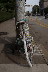Ghost bike, Penn Avenue (annburlingham) Tags: ghostbike memorial pittsburgh pennsylvania roadsidememorial winner tcf thechallengefactory street city bicycle flowers painted