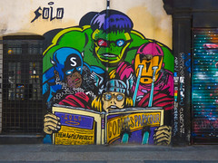 Best to Read Solo (Steve Taylor (Photography)) Tags: solo comicsparkour themagpieprojectthor hulk vision ironman captainamerica comic avengers characters glasses art cartoon graffiti mural shop shutter store colourful cool uk gb england greatbritain unitedkingdom london standing out stunning detailed shot