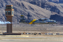 """Greg """"Wired"""" Colyer and the Lockheed T-33 Shooting Star """"Ace Maker II"""" (Norman Graf) Tags: controltower aircraft smoke airplane airshow 2016nellisafbopenhouse t33 ace maker ii aerobatics t33a gregwiredcolyer lockheed acemakerii 21452 aviationnation ft452 jet klsv n133hh plane shootingstar trainer"""