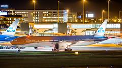 PH-BVA (Tynophotography (Martijn de Heer)) Tags: ams eham schiphol amsterdam phbva orange pride orangepride airport nightshot klm 777300er 777 773 77w boeing beacon p3